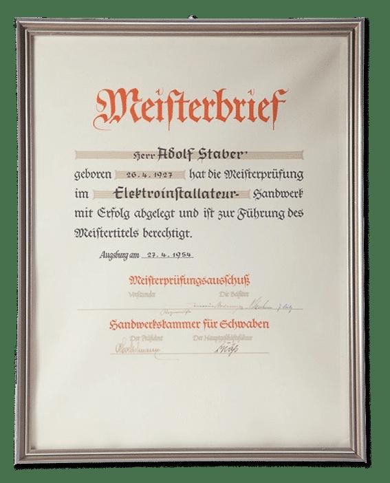 Meisterbrief von Adolf Staber aus dem Jahr 1954