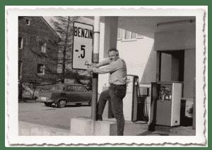 Firmeneigene Tankstelle im Jahr 1965